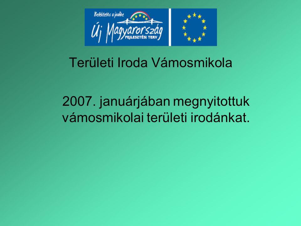 Területi Iroda Vámosmikola 2007. januárjában megnyitottuk vámosmikolai területi irodánkat.