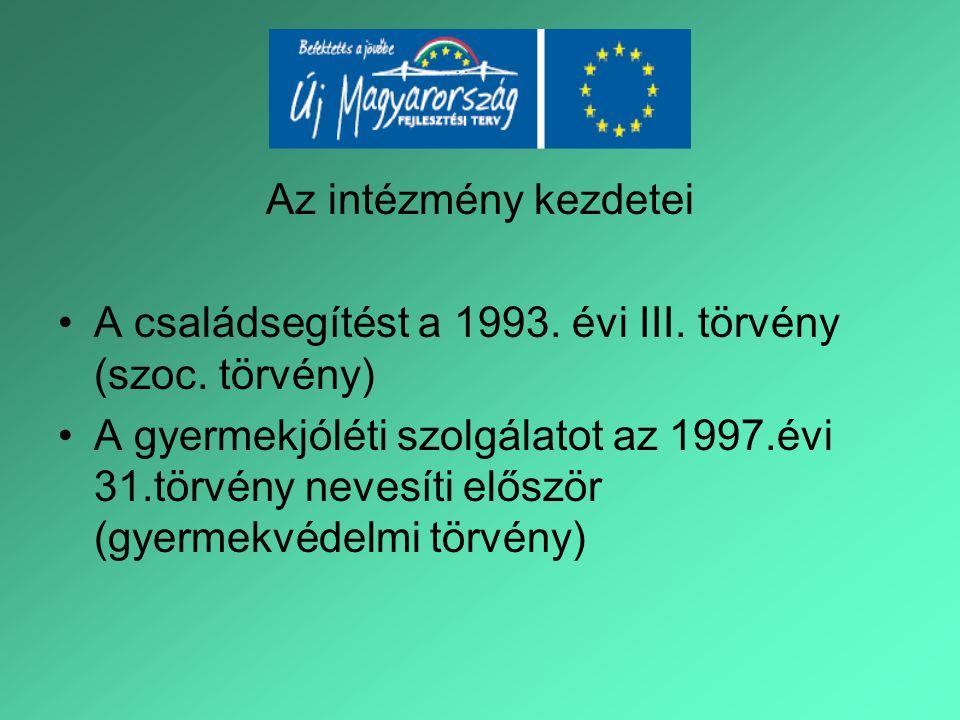 Az intézmény kezdetei A családsegítést a 1993. évi III. törvény (szoc. törvény) A gyermekjóléti szolgálatot az 1997.évi 31.törvény nevesíti először (g