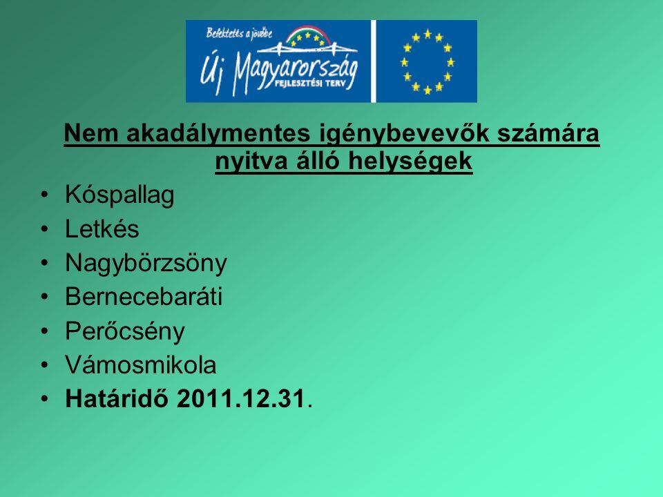 Nem akadálymentes igénybevevők számára nyitva álló helységek Kóspallag Letkés Nagybörzsöny Bernecebaráti Perőcsény Vámosmikola Határidő 2011.12.31.