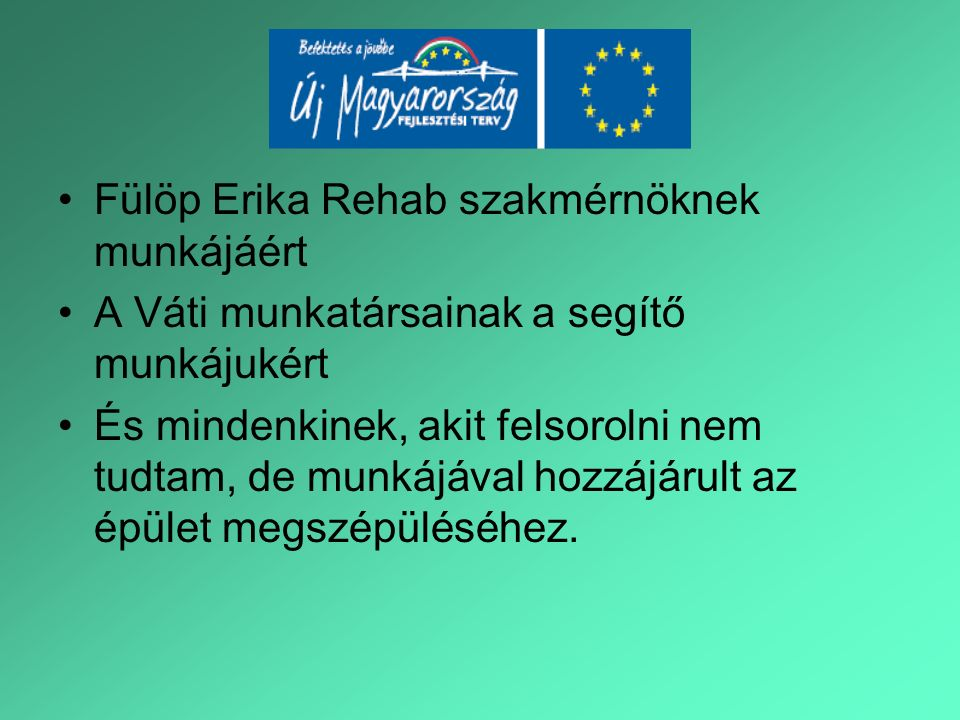 Fülöp Erika Rehab szakmérnöknek munkájáért A Váti munkatársainak a segítő munkájukért És mindenkinek, akit felsorolni nem tudtam, de munkájával hozzájárult az épület megszépüléséhez.