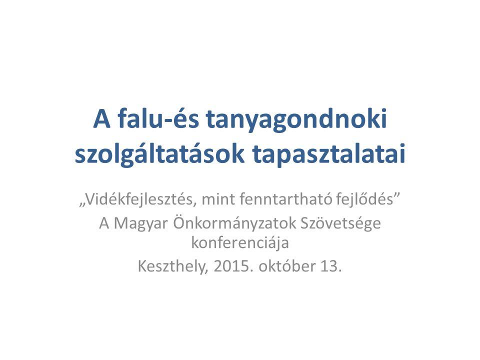 """A falu-és tanyagondnoki szolgáltatások tapasztalatai """"Vidékfejlesztés, mint fenntartható fejlődés"""" A Magyar Önkormányzatok Szövetsége konferenciája Ke"""
