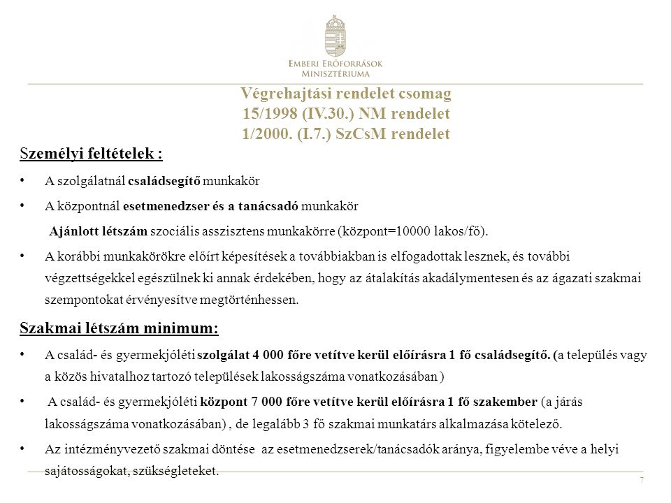 7 Végrehajtási rendelet csomag 15/1998 (IV.30.) NM rendelet 1/2000.