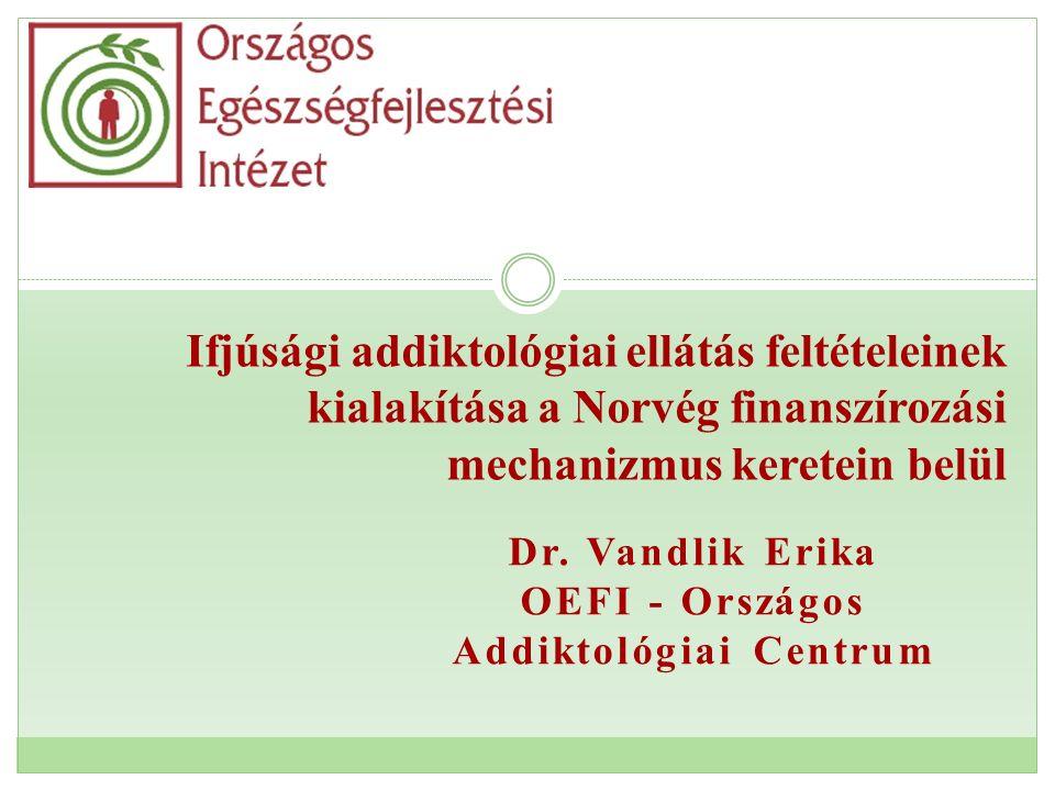 Dr. Vandlik Erika OEFI - Országos Addiktológiai Centrum Ifjúsági addiktológiai ellátás feltételeinek kialakítása a Norvég finanszírozási mechanizmus k