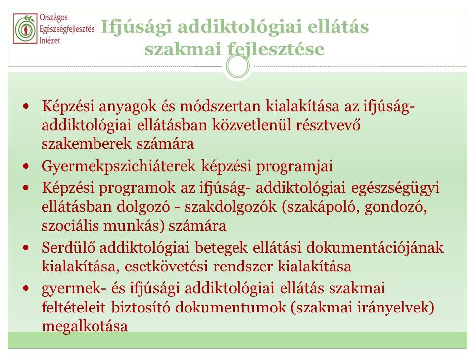Ifjúsági addiktológiai ellátás szakmai fejlesztése Képzési anyagok és módszertan kialakítása az ifjúság- addiktológiai ellátásban közvetlenül résztvevő szakemberek számára Gyermekpszichiáterek képzési programjai Képzési programok az ifjúság- addiktológiai egészségügyi ellátásban dolgozó - szakdolgozók (szakápoló, gondozó, szociális munkás) számára Serdülő addiktológiai betegek ellátási dokumentációjának kialakítása, esetkövetési rendszer kialakítása gyermek- és ifjúsági addiktológiai ellátás szakmai feltételeit biztosító dokumentumok (szakmai irányelvek) megalkotása