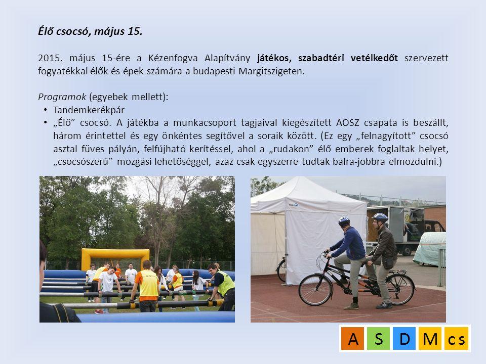 Élő csocsó, május 15. 2015. május 15-ére a Kézenfogva Alapítvány játékos, szabadtéri vetélkedőt szervezett fogyatékkal élők és épek számára a budapest