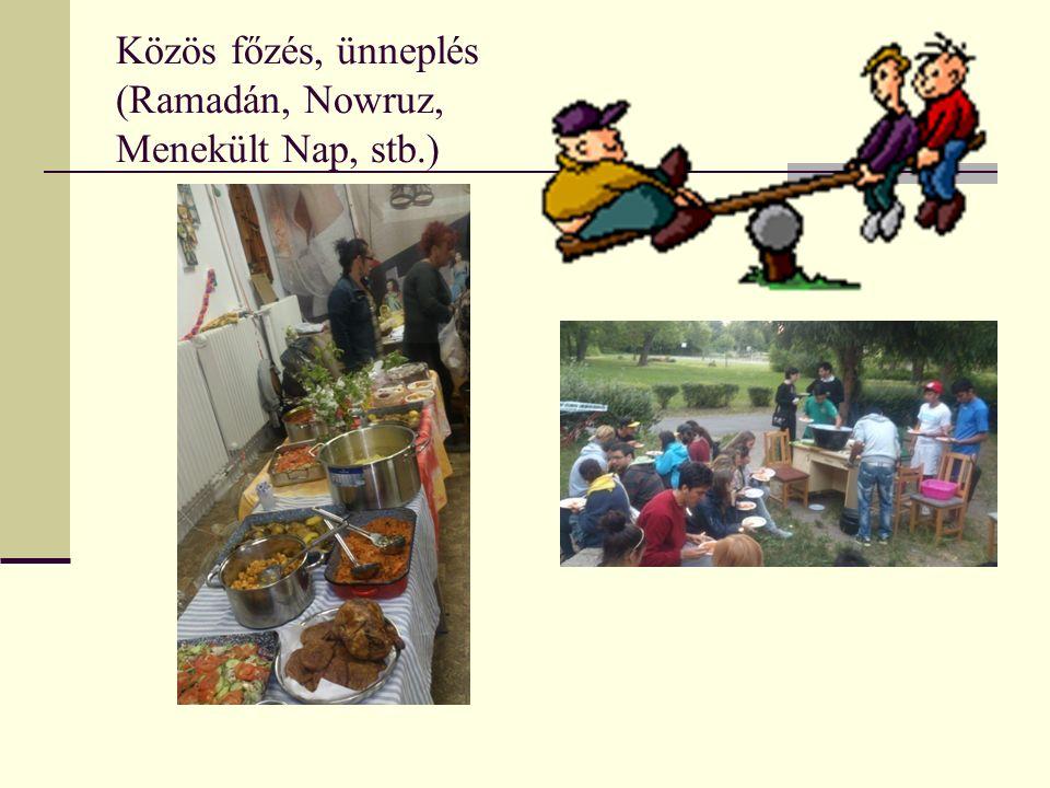 Közös főzés, ünneplés (Ramadán, Nowruz, Menekült Nap, stb.)