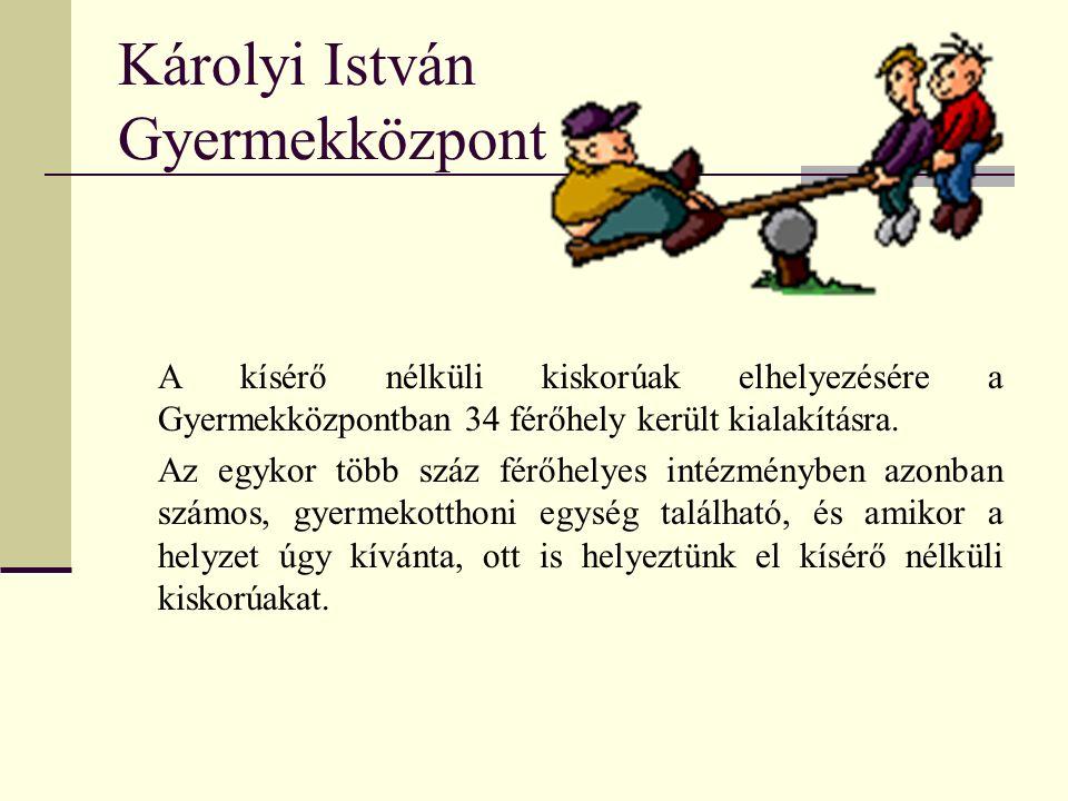 Károlyi István Gyermekközpont A kísérő nélküli kiskorúak elhelyezésére a Gyermekközpontban 34 férőhely került kialakításra.
