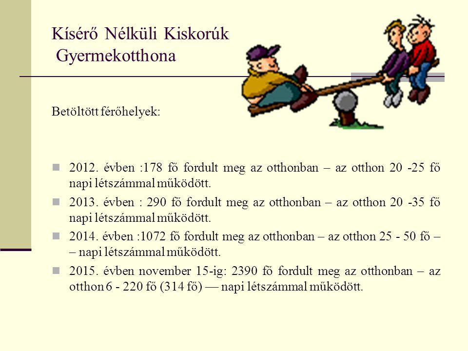 Kísérő Nélküli Kiskorúk Gyermekotthona Betöltött férőhelyek: 2012.