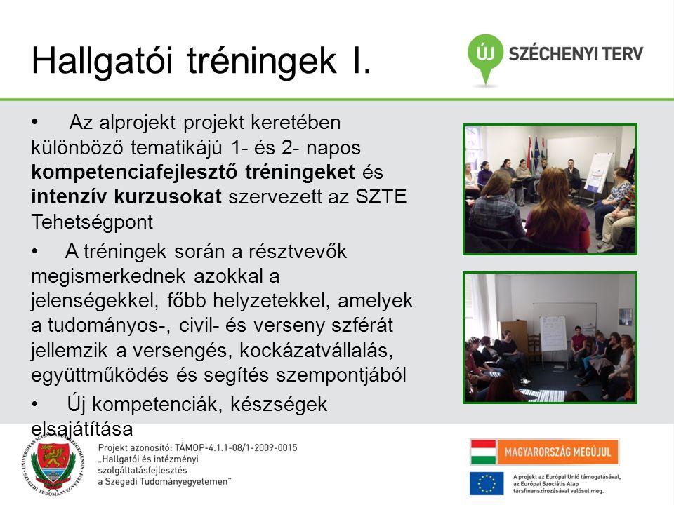 Hallgatói tréningek I. Az alprojekt projekt keretében különböző tematikájú 1- és 2- napos kompetenciafejlesztő tréningeket és intenzív kurzusokat szer