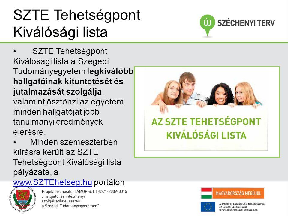 SZTE Tehetségpont Kiválósági lista SZTE Tehetségpont Kiválósági lista a Szegedi Tudományegyetem legkiválóbb hallgatóinak kitüntetését és jutalmazását szolgálja, valamint ösztönzi az egyetem minden hallgatóját jobb tanulmányi eredmények elérésre.