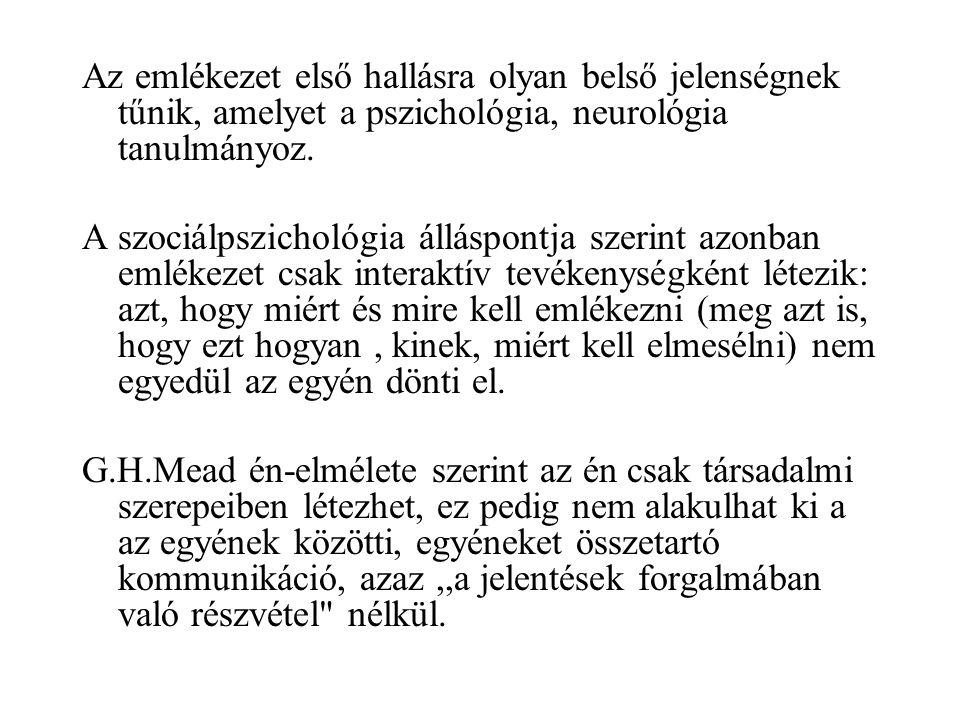 Jan Assmann az emlékezet külső dimenziójának négy területét különbözteti meg 1.Mimetikus emlékezet.
