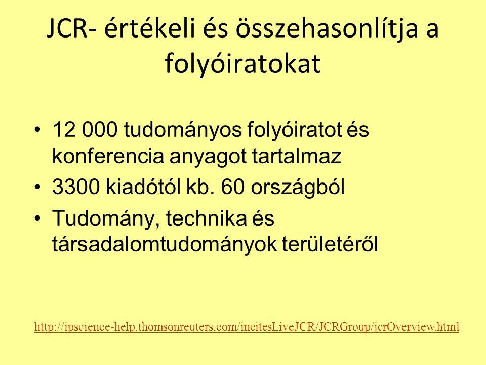 JCR- értékeli és összehasonlítja a folyóiratokat 12 000 tudományos folyóiratot és konferencia anyagot tartalmaz 3300 kiadótól kb.