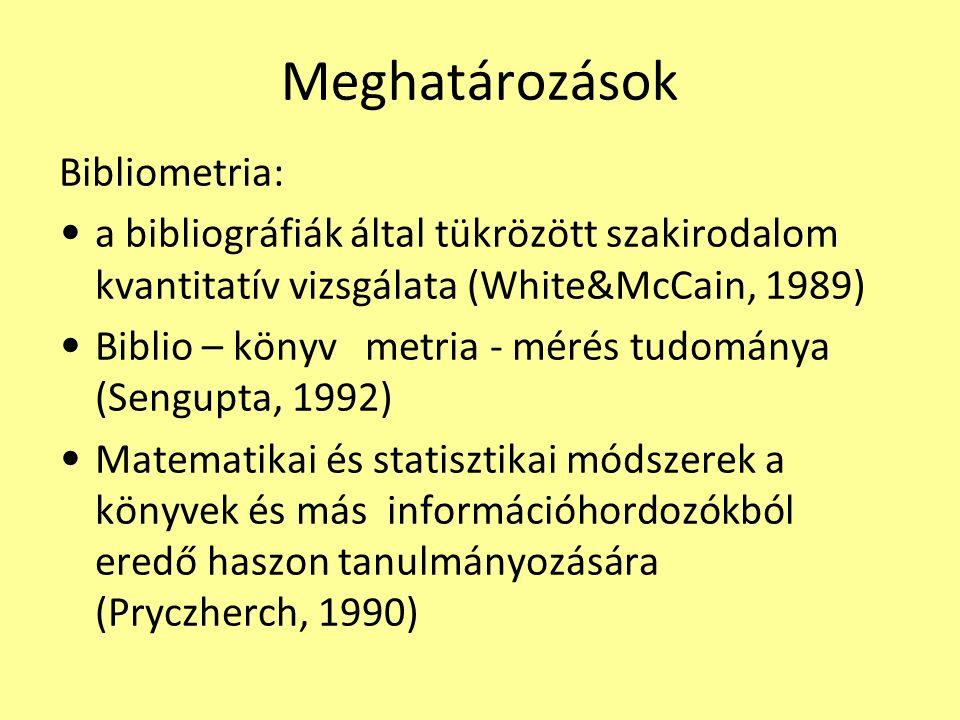 Meghatározások Bibliometria: a bibliográfiák által tükrözött szakirodalom kvantitatív vizsgálata (White&McCain, 1989) Biblio – könyv metria - mérés tudománya (Sengupta, 1992) Matematikai és statisztikai módszerek a könyvek és más információhordozókból eredő haszon tanulmányozására (Pryczherch, 1990)