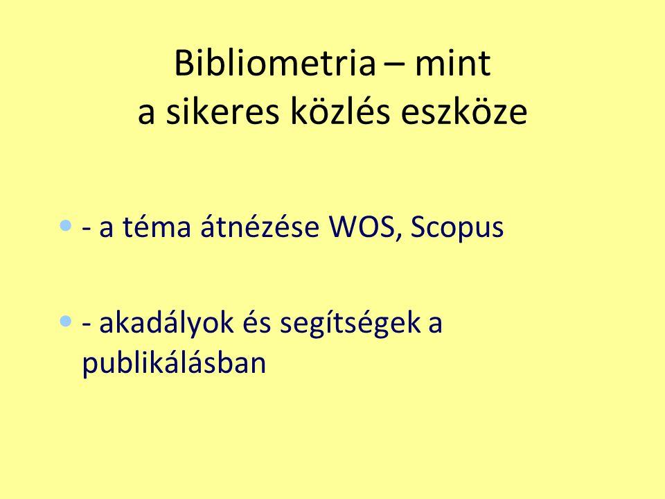 Bibliometria – mint a sikeres közlés eszköze - a téma átnézése WOS, Scopus - akadályok és segítségek a publikálásban