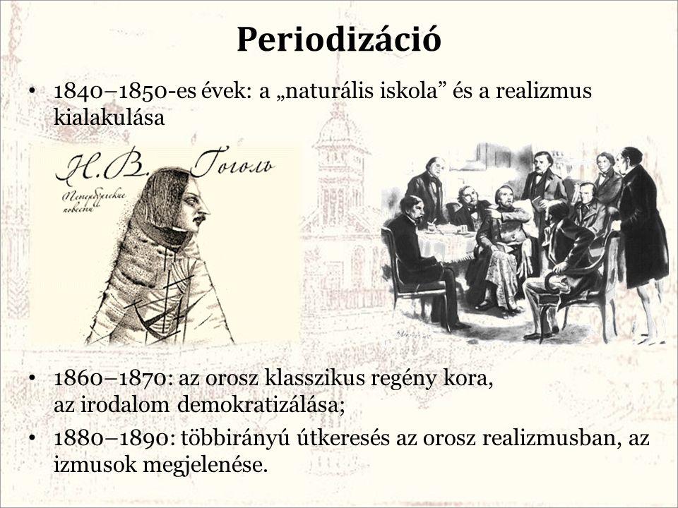 """1840–1850-es évek: a """"naturális iskola"""" és a realizmus kialakulása 1860–1870: az orosz klasszikus regény kora, az irodalom demokratizálása; 1880–1890:"""