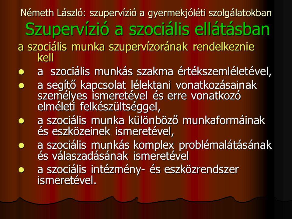Németh László: szupervízió a gyermekjóléti szolgálatokban Szupervízió a szociális ellátásban a szociális munka szupervízorának rendelkeznie kell a szociális munkás szakma értékszemléletével, a szociális munkás szakma értékszemléletével, a segítő kapcsolat lélektani vonatkozásainak személyes ismeretével és erre vonatkozó elméleti felkészültséggel, a segítő kapcsolat lélektani vonatkozásainak személyes ismeretével és erre vonatkozó elméleti felkészültséggel, a szociális munka különböző munkaformáinak és eszközeinek ismeretével, a szociális munka különböző munkaformáinak és eszközeinek ismeretével, a szociális munkás komplex problémalátásának és válaszadásának ismeretével a szociális munkás komplex problémalátásának és válaszadásának ismeretével a szociális intézmény- és eszközrendszer ismeretével.