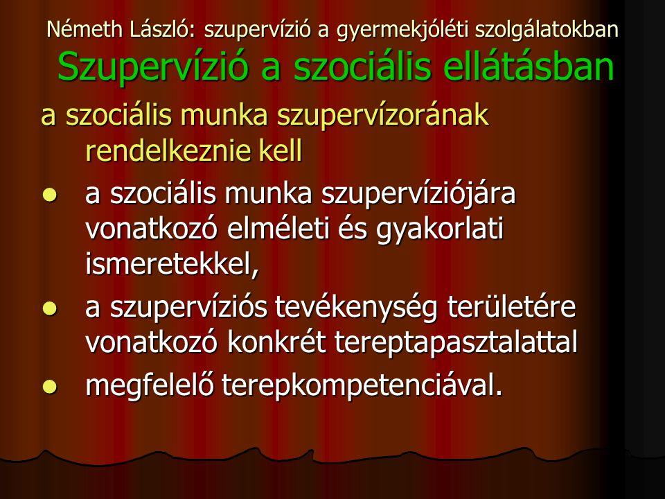 Németh László: szupervízió a gyermekjóléti szolgálatokban Szupervízió a szociális ellátásban a szociális munka szupervízorának rendelkeznie kell a szociális munka szupervíziójára vonatkozó elméleti és gyakorlati ismeretekkel, a szociális munka szupervíziójára vonatkozó elméleti és gyakorlati ismeretekkel, a szupervíziós tevékenység területére vonatkozó konkrét tereptapasztalattal a szupervíziós tevékenység területére vonatkozó konkrét tereptapasztalattal megfelelő terepkompetenciával.