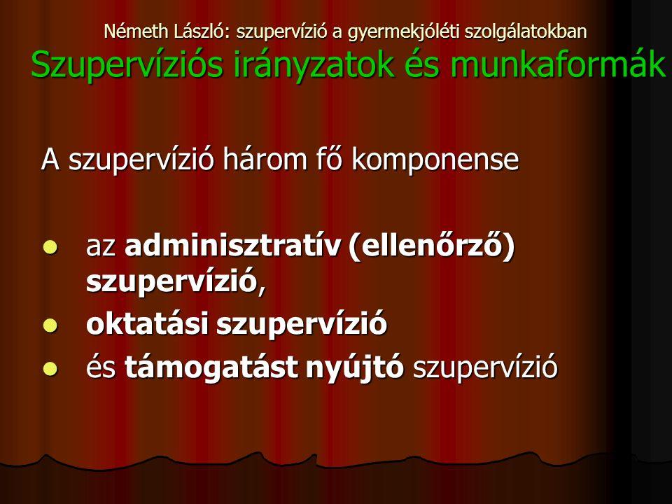 Németh László: szupervízió a gyermekjóléti szolgálatokban Szupervíziós irányzatok és munkaformák A szupervízió három fő komponense az adminisztratív (ellenőrző) szupervízió, az adminisztratív (ellenőrző) szupervízió, oktatási szupervízió oktatási szupervízió és támogatást nyújtó szupervízió és támogatást nyújtó szupervízió