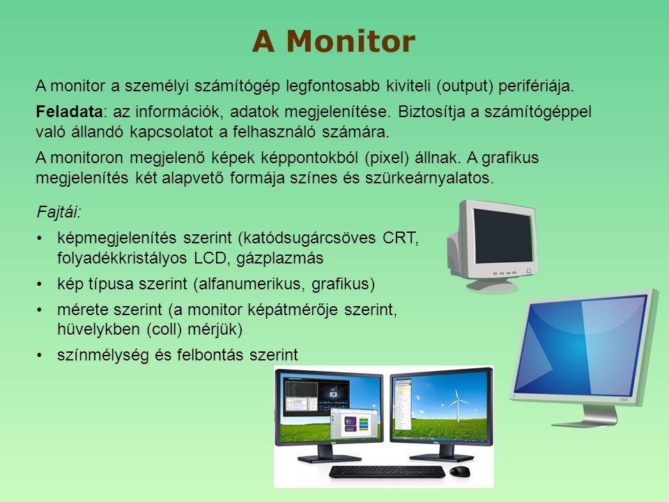 A monitor a személyi számítógép legfontosabb kiviteli (output) perifériája. Feladata: az információk, adatok megjelenítése. Biztosítja a számítógéppel