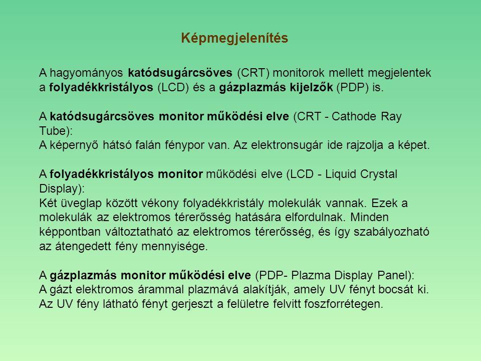 A hagyományos katódsugárcsöves (CRT) monitorok mellett megjelentek a folyadékkristályos (LCD) és a gázplazmás kijelzők (PDP) is. A katódsugárcsöves mo