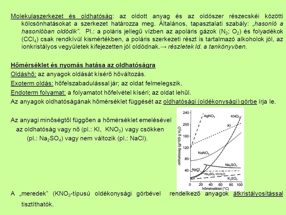 Molekulaszerkezet és oldhatóság: az oldott anyag és az oldószer részecskéi közötti kölcsönhatásokat a szerkezet határozza meg.