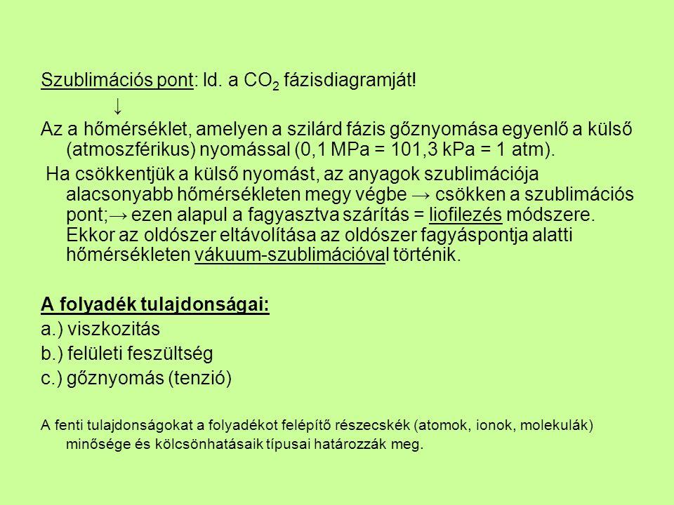 Szublimációs pont: ld. a CO 2 fázisdiagramját.