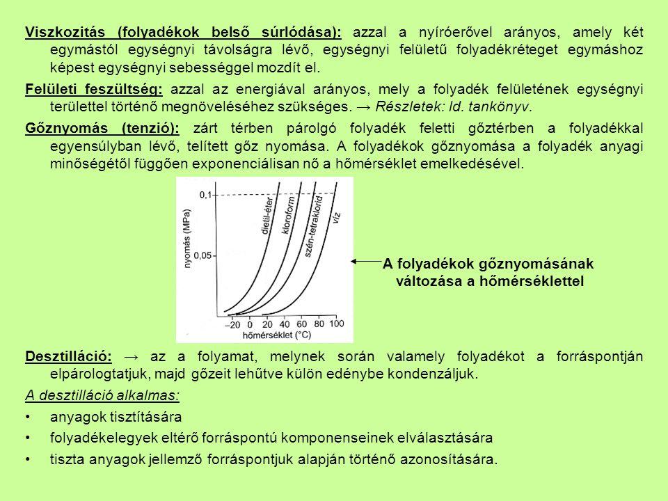 Viszkozitás (folyadékok belső súrlódása): azzal a nyíróerővel arányos, amely két egymástól egységnyi távolságra lévő, egységnyi felületű folyadékréteget egymáshoz képest egységnyi sebességgel mozdít el.