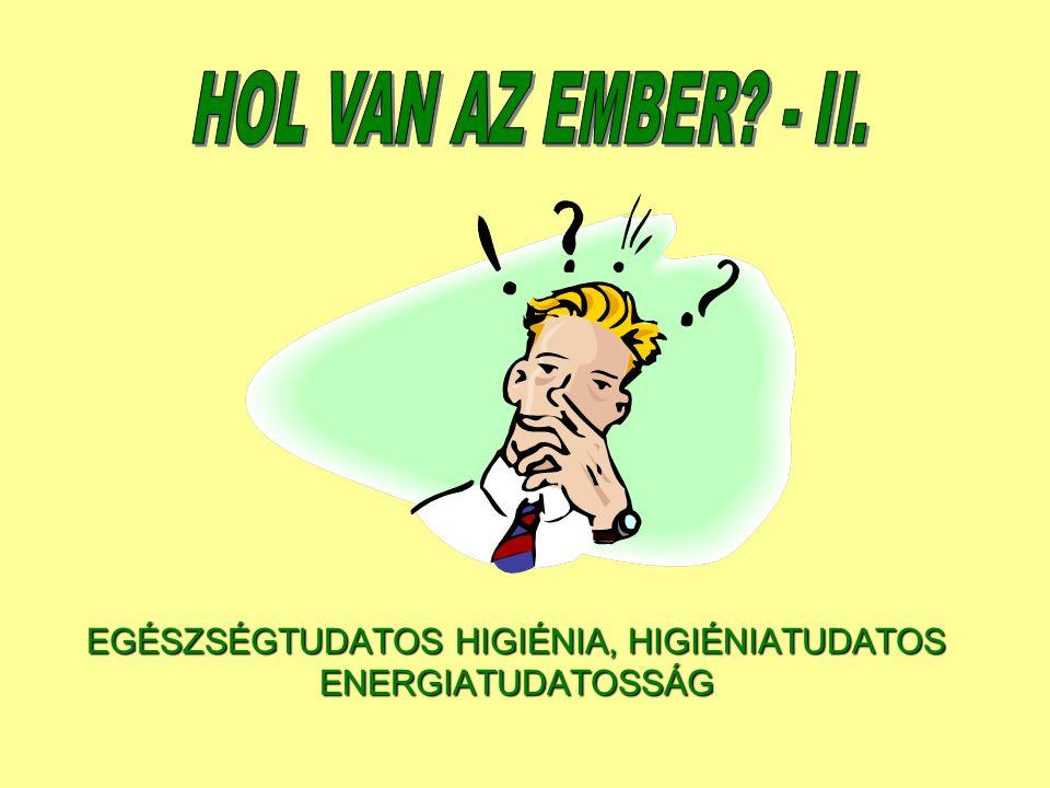 EGÉSZSÉGTUDATOS HIGIÉNIA, HIGIÉNIATUDATOS ENERGIATUDATOSSÁG