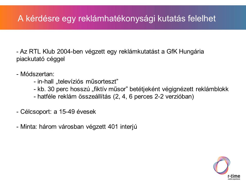 """A kérdésre egy reklámhatékonysági kutatás felelhet - Az RTL Klub 2004-ben végzett egy reklámkutatást a GfK Hungária piackutató céggel - Módszertan: - in-hall """"televíziós műsorteszt - kb."""