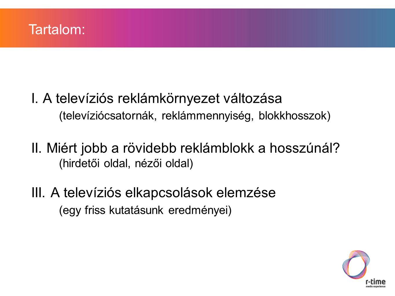I. A televíziós reklámkörnyezet változása (televíziócsatornák, reklámmennyiség, blokkhosszok) II.