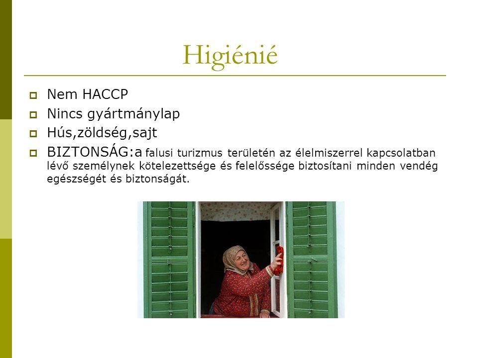 Higiénié  Nem HACCP  Nincs gyártmánylap  Hús,zöldség,sajt  BIZTONSÁG:a falusi turizmus területén az élelmiszerrel kapcsolatban lévő személynek kötelezettsége és felelőssége biztosítani minden vendég egészségét és biztonságát.