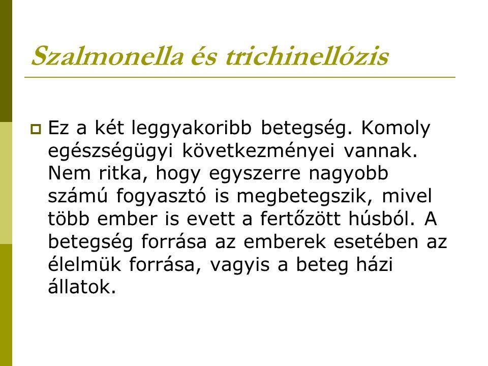 Szalmonella és trichinellózis  Ez a két leggyakoribb betegség.