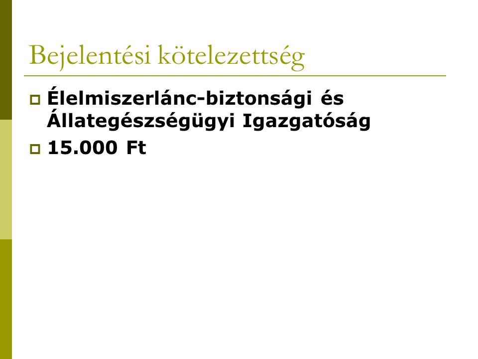 Bejelentési kötelezettség  Élelmiszerlánc-biztonsági és Állategészségügyi Igazgatóság  15.000 Ft