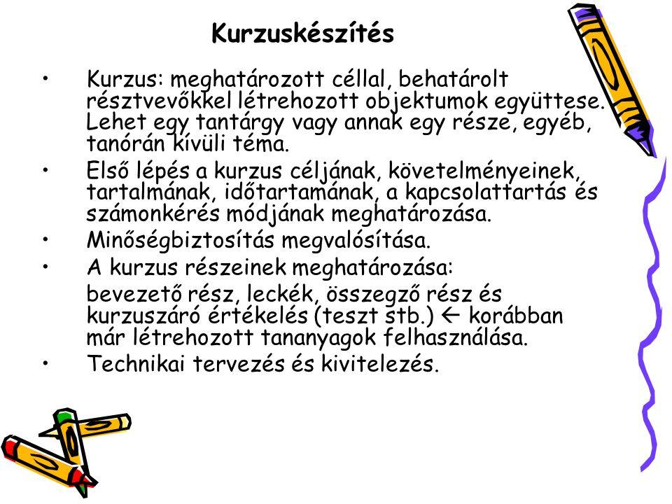 Kurzuskészítés Kurzus: meghatározott céllal, behatárolt résztvevőkkel létrehozott objektumok együttese.