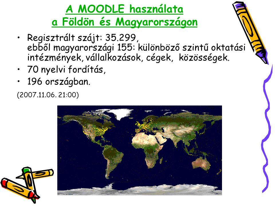 A MOODLE használata a Földön és Magyarországon Regisztrált szájt: 35.299, ebből magyarországi 155: különböző szintű oktatási intézmények, vállalkozások, cégek, közösségek.