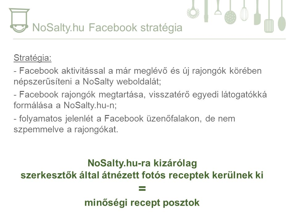 NoSalty.hu Facebook stratégia Stratégia: - Facebook aktivitással a már meglévő és új rajongók körében népszerűsíteni a NoSalty weboldalát; - Facebook rajongók megtartása, visszatérő egyedi látogatókká formálása a NoSalty.hu-n; - folyamatos jelenlét a Facebook üzenőfalakon, de nem szpemmelve a rajongókat.