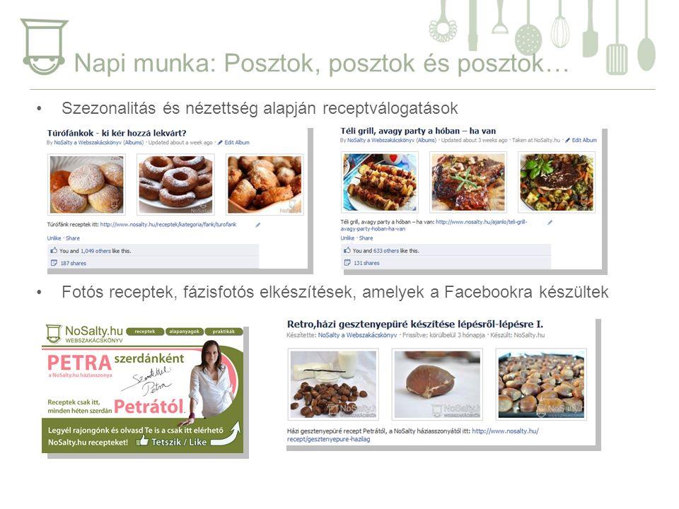 Napi munka: Posztok, posztok és posztok… Szezonalitás és nézettség alapján receptválogatások Fotós receptek, fázisfotós elkészítések, amelyek a Facebookra készültek