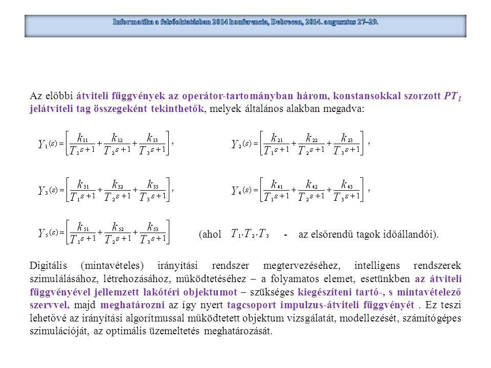 Az előbbi átviteli függvények az operátor-tartományban három, konstansokkal szorzott PT 1 jelátviteli tag összegeként tekinthetők, melyek általános al