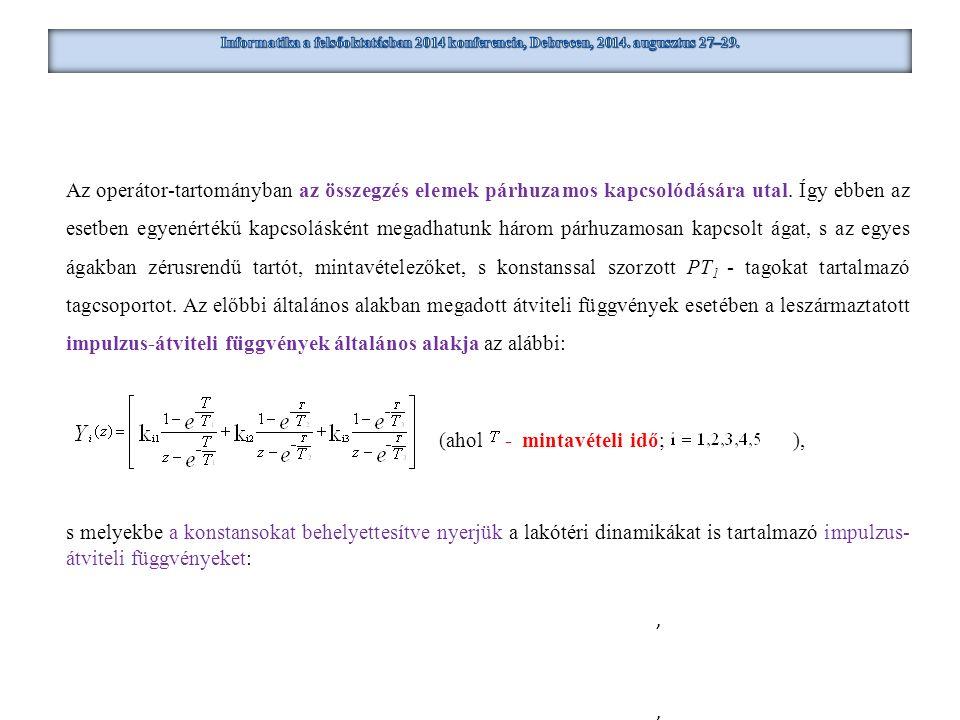 Az operátor-tartományban az összegzés elemek párhuzamos kapcsolódására utal. Így ebben az esetben egyenértékű kapcsolásként megadhatunk három párhuzam