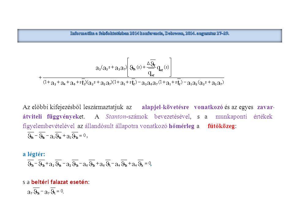 Az előbbi kifejezésből leszármaztatjuk az alapjel-követésre vonatkozó és az egyes zavar- átviteli függvényeket. A Stanton-számok bevezetésével, s a mu