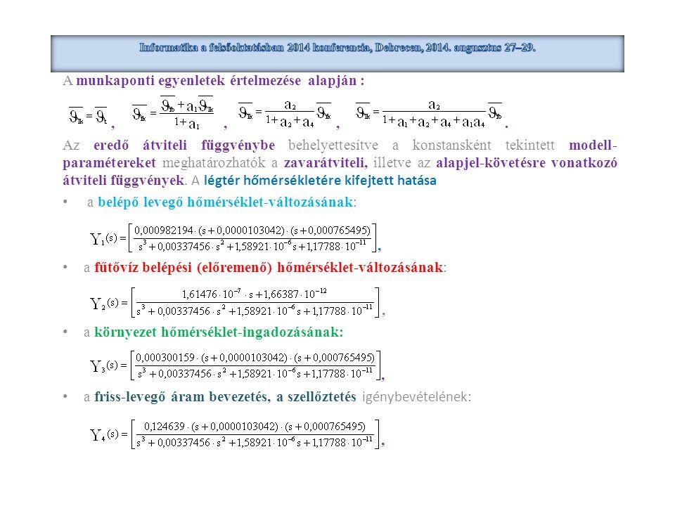 A munkaponti egyenletek értelmezése alapján :,,,. Az eredő átviteli függvénybe behelyettesítve a konstansként tekintett modell- paramétereket meghatár