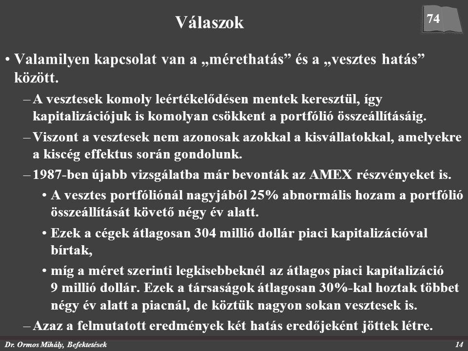 """Dr. Ormos Mihály, Befektetések14 Válaszok Valamilyen kapcsolat van a """"mérethatás"""" és a """"vesztes hatás"""" között. –A vesztesek komoly leértékelődésen men"""