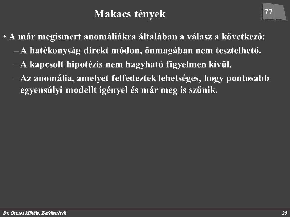 Dr. Ormos Mihály, Befektetések20 Makacs tények A már megismert anomáliákra általában a válasz a következő: –A hatékonyság direkt módon, önmagában nem