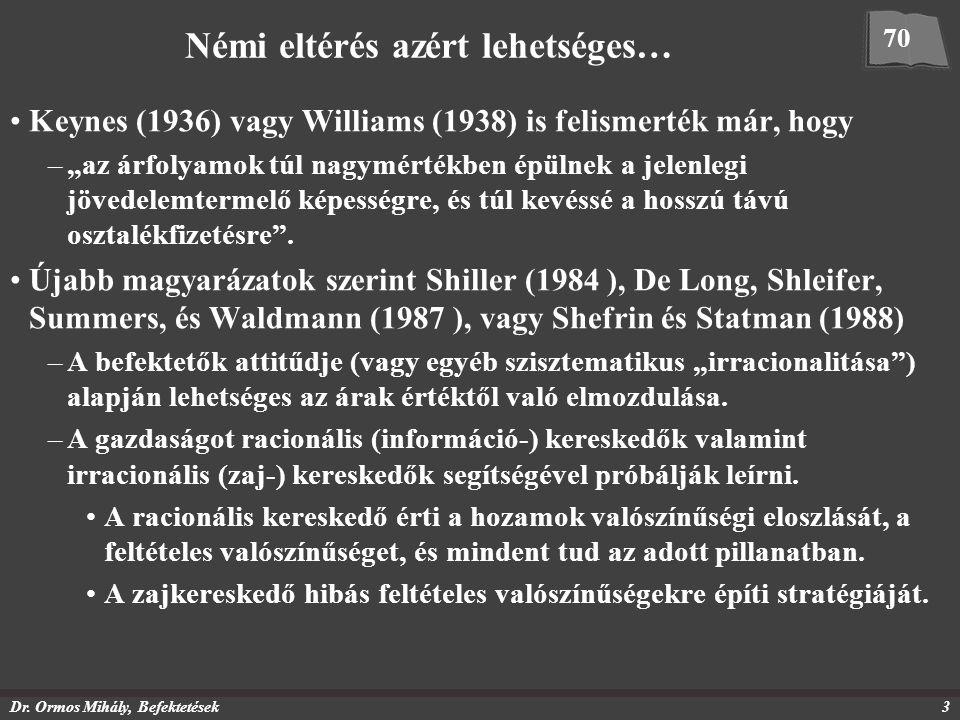 """Dr. Ormos Mihály, Befektetések3 Némi eltérés azért lehetséges… Keynes (1936) vagy Williams (1938) is felismerték már, hogy –""""az árfolyamok túl nagymér"""