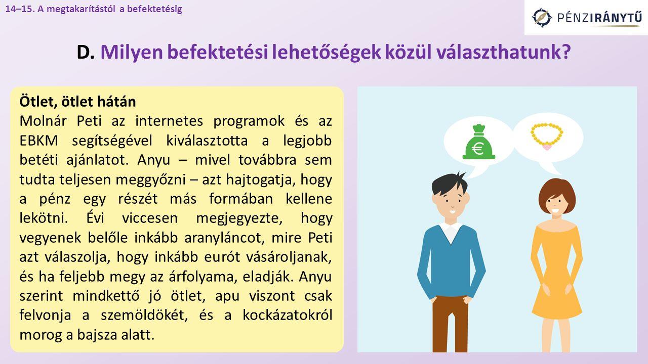 14–15.A megtakarítástól a befektetésig D. Milyen befektetési lehetőségek közül választhatunk.