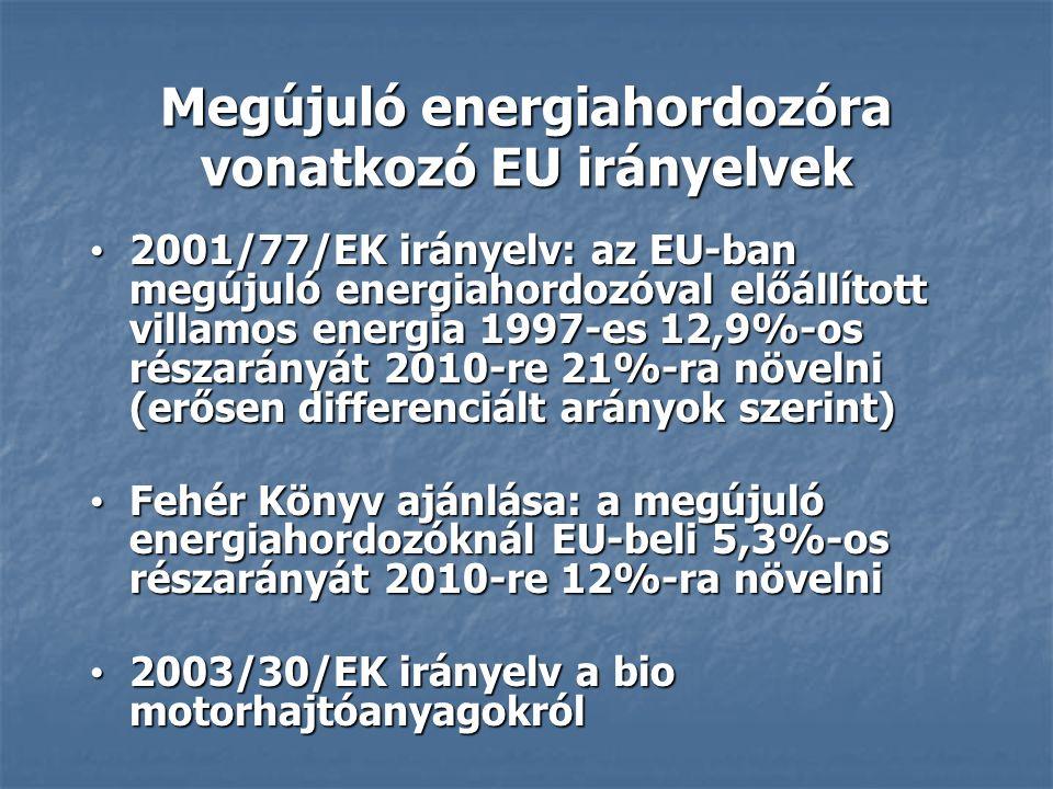 2001/77/EK irányelv: az EU-ban megújuló energiahordozóval előállított villamos energia 1997-es 12,9%-os részarányát 2010-re 21%-ra növelni (erősen differenciált arányok szerint) 2001/77/EK irányelv: az EU-ban megújuló energiahordozóval előállított villamos energia 1997-es 12,9%-os részarányát 2010-re 21%-ra növelni (erősen differenciált arányok szerint) Fehér Könyv ajánlása: a megújuló energiahordozóknál EU-beli 5,3%-os részarányát 2010-re 12%-ra növelni Fehér Könyv ajánlása: a megújuló energiahordozóknál EU-beli 5,3%-os részarányát 2010-re 12%-ra növelni 2003/30/EK irányelv a bio motorhajtóanyagokról 2003/30/EK irányelv a bio motorhajtóanyagokról Megújuló energiahordozóra vonatkozó EU irányelvek
