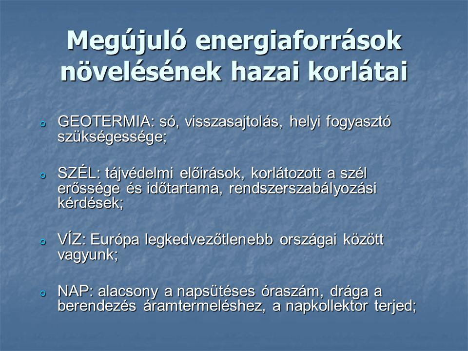 Megújuló energiaforrások növelésének hazai korlátai o GEOTERMIA: só, visszasajtolás, helyi fogyasztó szükségessége; o SZÉL: tájvédelmi előirások, korlátozott a szél erőssége és időtartama, rendszerszabályozási kérdések; o VÍZ: Európa legkedvezőtlenebb országai között vagyunk; o NAP: alacsony a napsütéses óraszám, drága a berendezés áramtermeléshez, a napkollektor terjed;