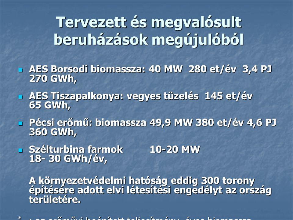 Tervezett és megvalósult beruházások megújulóból AES Borsodi biomassza: 40 MW 280 et/év 3,4 PJ 270 GWh, AES Borsodi biomassza: 40 MW 280 et/év 3,4 PJ 270 GWh, AES Tiszapalkonya: vegyes tüzelés 145 et/év 65 GWh, AES Tiszapalkonya: vegyes tüzelés 145 et/év 65 GWh, Pécsi erőmű: biomassza 49,9 MW 380 et/év 4,6 PJ 360 GWh, Pécsi erőmű: biomassza 49,9 MW 380 et/év 4,6 PJ 360 GWh, Szélturbina farmok 10-20 MW 18- 30 GWh/év, Szélturbina farmok 10-20 MW 18- 30 GWh/év, A környezetvédelmi hatóság eddig 300 torony építésére adott elvi létesítési engedélyt az ország területére.