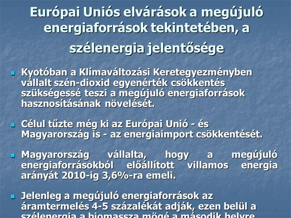 Európai Uniós elvárások a megújuló energiaforrások tekintetében, a szélenergia jelentősége Kyotóban a Klímaváltozási Keretegyezményben vállalt szén-dioxid egyenérték csökkentés szükségessé teszi a megújuló energiaforrások hasznosításának növelését.