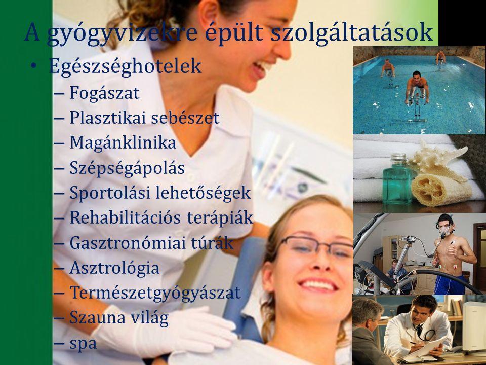 A gyógyvizekre épült szolgáltatások Egészséghotelek – Fogászat – Plasztikai sebészet – Magánklinika – Szépségápolás – Sportolási lehetőségek – Rehabilitációs terápiák – Gasztronómiai túrák – Asztrológia – Természetgyógyászat – Szauna világ – spa